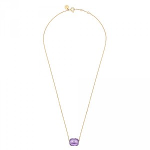 Collier Coussin Amethyste or jaune